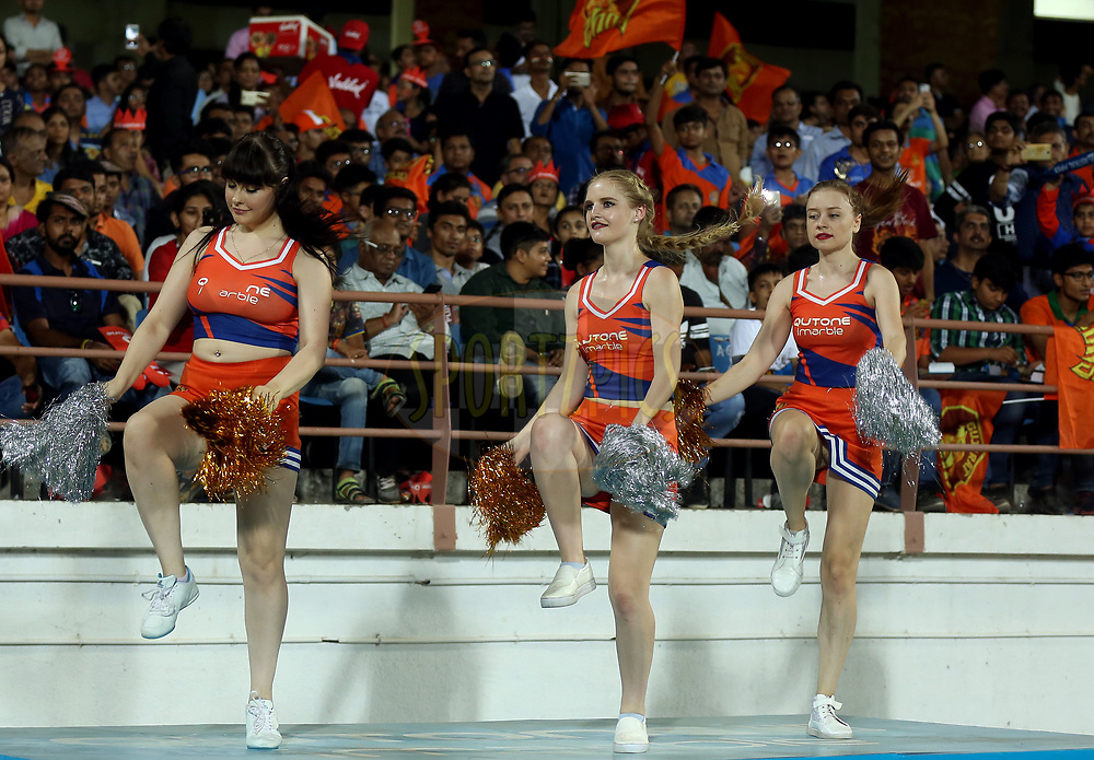 Gujarat Lions Cheer Girls performs during match 35 of the Vivo 2017 Indian Premier League between the Gujarat Lions and the Mumbai Indians  held at the Saurashtra Cricket Association Stadium in Rajkot, India on the 29th April 2017<br /> <br /> Photo by Sandeep Shetty - Sportzpics - IPL