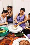 Woman at Bong Hang Tran making white rose dumplings. Hoi An, Vietnam