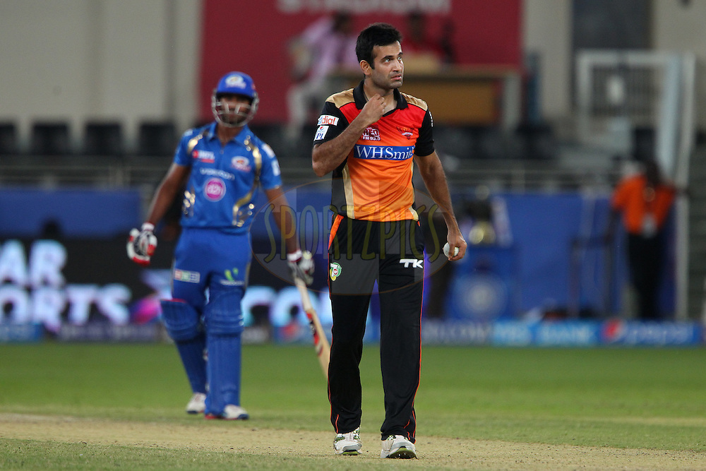 Irfan Pathan of the Sunrisers Hyderabad bowls the last over during match 20 of the Pepsi Indian Premier League Season 2014 between the Mumbai Indians and the Sunrisers Hyderabad held at the Dubai International Stadium, Dubai, United Arab Emirates on the 30th April 2014<br /> <br /> Photo by Ron Gaunt / IPL / SPORTZPICS