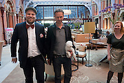 ANTTO MEUASNIEMI; TOM DIXON AND HIS DOG MOLLIE, Conde Nast Traveller Innovation and Design Awards. St. Pancras Renaissance Marriot Hotel. London. 10 May 2011. <br /> <br />  , -DO NOT ARCHIVE-© Copyright Photograph by Dafydd Jones. 248 Clapham Rd. London SW9 0PZ. Tel 0207 820 0771. www.dafjones.com.