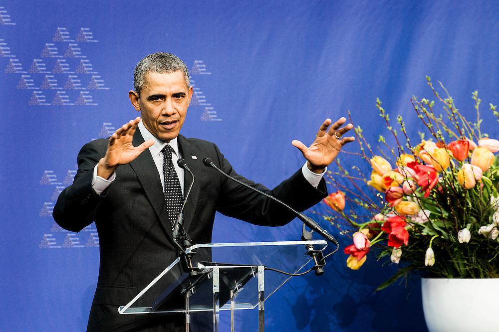 Nederland, Den Haag, 25 march 2014<br /> NSS 2014<br /> Afsluitende persconferentie met Premier Mark Rutte en President Barrack Obama.<br /> Closing press conference of NSS 2014 with prime minister Mark Rutte and President Barrack Obama.<br /> Foto (c) Michiel Wijnbergh