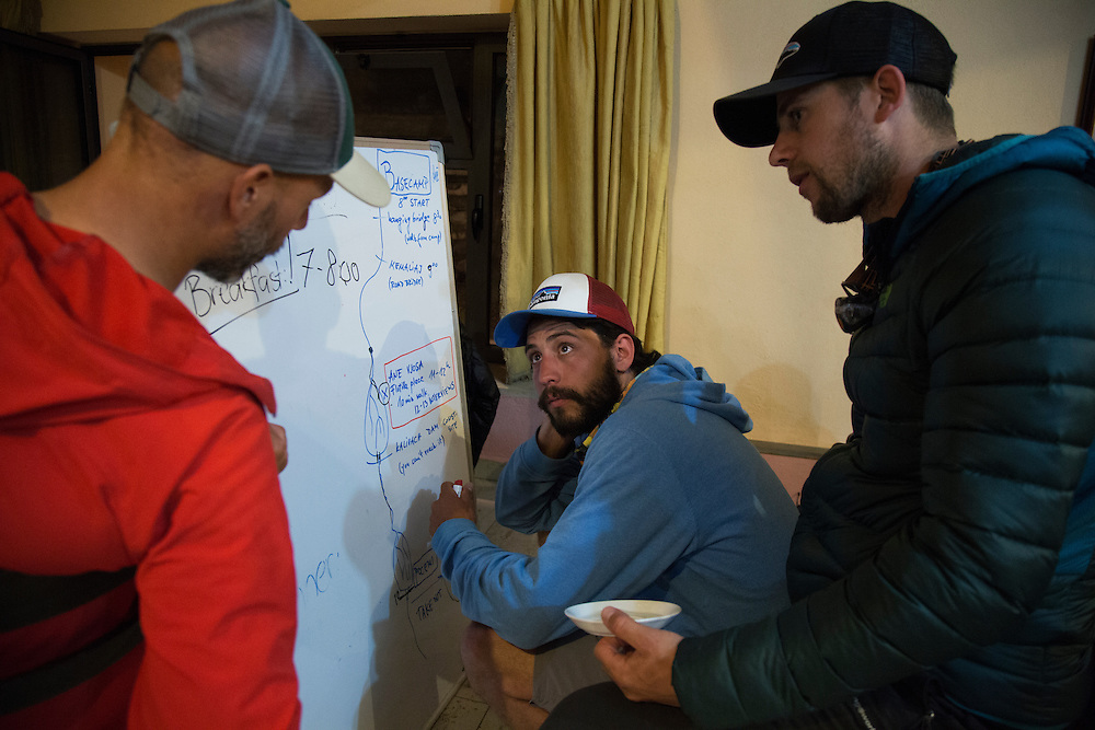 Rok Rozman, organizer of the Balkan Rivers Tour, an effort to raise awareness about the threats faced by rivers in the Balkans from the construction of hydropower projects, talks with other members in order to organize a flotilla to protest the Pocem dam on the Vjosa River.