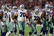 The Dallas Cowboys offense breaks from the huddle and heads during the 2017 NFL week 3 regular season football game against the Arizona Cardinals, Monday, Sept. 25, 2017 in Glendale, Ariz. The Cowboys won the game 28-17. (©Paul Anthony Spinelli)