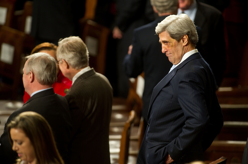 Senator John Kerry (D-MA) before the State of the Union address to the 112th Congress on Tuesday, Jan. 24th,  2012 in Washington.