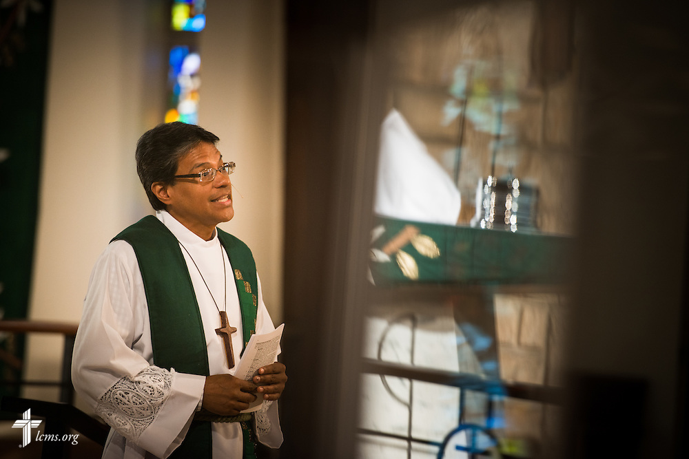 The Rev. Adolfo Borges, associate pastor at Prince of Peace Lutheran Church in Orlando, Fla., leads worship at the church on Sunday, Sept. 13, 2015. LCMS Communications/Erik M. Lunsford
