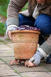 Lifting pots using terracotta feet to prevent them being broken by frost