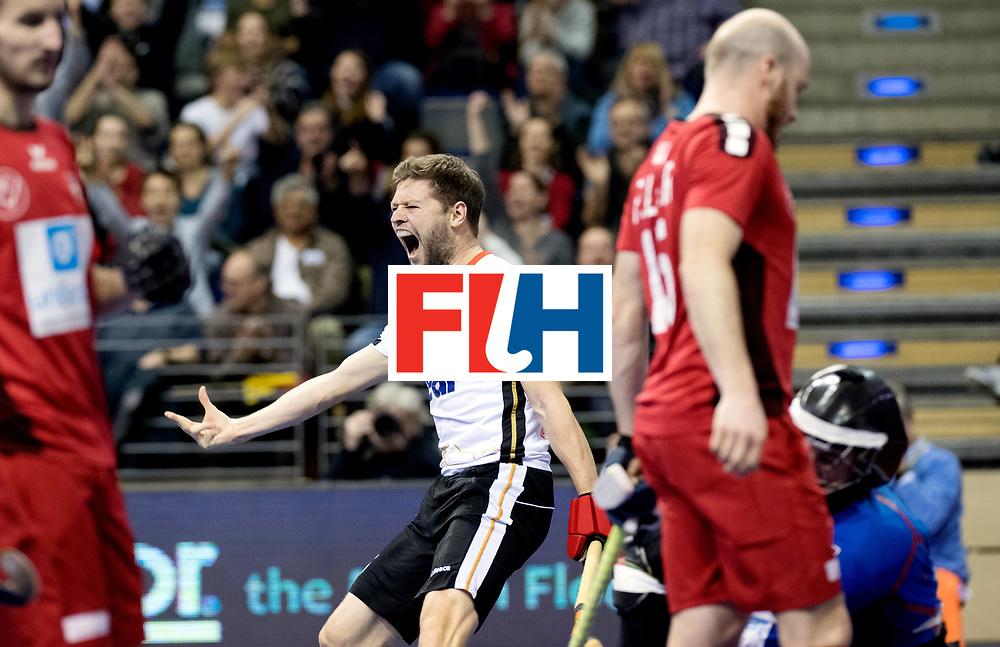 BERLIN - Indoor Hockey World Cup<br /> Quarterfinal 3: Germany - Switzerland<br /> foto: Martin H&auml;ner celebrating the 2-0.<br /> WORLDSPORTPICS COPYRIGHT FRANK UIJLENBROEK