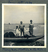 Mary with her Mother and Father January 12th 1934.<br /> Felsinger Collection.