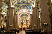 The neoclassical style interior of the Cathedral of San Luis Potosi in the historic center on the Plaza De Armas in the state capital of San Luis Potosi, Mexico. Also known as the San Luis Potosi Metropolitan Cathedral, it is consider the most important monument in the state and the first Baroque style building constructed in 1670 on the site of a parish church first built in 1593.