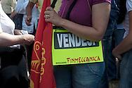 Roma 9 Giugno 2011.Manifestazione dei lavoratori della Selex Elsag, dell'Amtec e di Telespazio in un presidio di protesta  davanti alla sede di Finmeccanica a piazza Montegrappa.Il sit-in è stato indetto per rivendicare «certezze occupazionali, a fronte delle annunciata cassa integrazione per 650 lavoratori in Italia (di cui 170 a Roma).