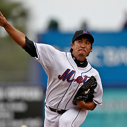 March 6, 2011; Port St. Lucie, FL, USA; New York Mets relief pitcher Ryota Igarashi (18) during a spring training exhibition game against the Boston Red Sox at Digital Domain Park. The Mets defeated the Red Sox 6-5.  Mandatory Credit: Derick E. Hingle