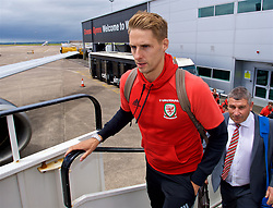CARDIFF, WALES - Saturday, June 10, 2017: Wales' David Edwards boards the team plane as the squad depart Cardiff Tesla Airport to travel to Belgrade ahead of the 2018 FIFA World Cup Qualifying Group D match against Serbia. (Pic by David Rawcliffe/Propaganda)