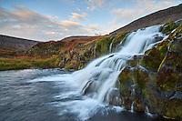 Hrísvaðsfoss waterfall, one of the lower falls below Dynjandi waterfall. West fiords of Iceland.