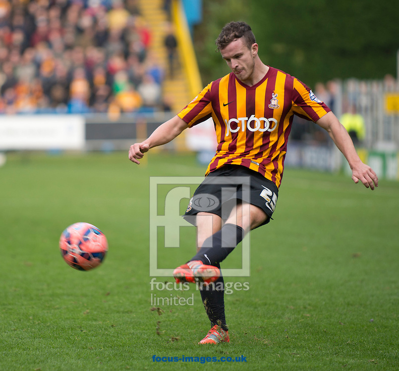 Andrew Halliday of Bradford City puts in a cross during the The FA Cup match at Shay Stadium, Halifax<br /> Picture by Russell Hart/Focus Images Ltd 07791 688 420<br /> 09/11/2014