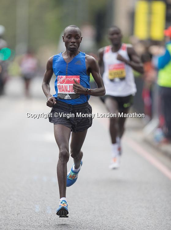 Daniel Wanjiru KEN leads the Elite Men&rsquo;s Race. The Virgin Money London Marathon, 23rd April 2017.<br /> <br /> Photo: Jed Leicester for Virgin Money London Marathon<br /> <br /> For further information: media@londonmarathonevents.co.uk