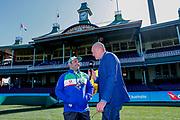Stacey Jones is interviewed pre-game by Daryl Halligan. Sydney Roosters v Vodafone Warriors. NRL Rugby League. Sydney Cricket Ground, Sydney, Australia. 18th August 2019. Copyright Photo: David Neilson / www.photosport.nz