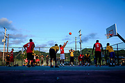 Players with the Harrison Hoops Classic league play a basketball game at the Natrona Community Park and Playground.<br />