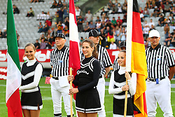 08.07.2011, Tivoli Stadion, Innsbruck, AUT, American Football WM 2011, Group A, Germany (GER) vs Mexico (MEX), im Bild Cheerleader with the Flags from Mexico, Austria and Germany, Referees behind them // during the American Football World Championship 2011 Group A game, Germany vs Mexico, at Tivoli Stadion, Innsbruck, 2011-07-08, EXPA Pictures © 2011, PhotoCredit: EXPA/ T. Haumer