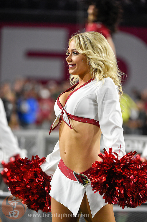 January 16, 2016; Glendale, AZ, USA; Arizona Cardinals cheerleader Alexandria performs during halftime in a NFC Divisional round playoff game against the Green Bay Packers at University of Phoenix Stadium. The Cardinals defeated the Packers 26-20 in overtime.