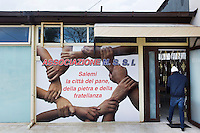 SALEMI, ITALY - 9 DECEMBER 2014: Entrance to the CAS (Special Accommodation Center) in Salemi, Italy, on December 9th 2014.<br /> <br /> The CAS (Special Accommodation Center) in Salemi, Sicily, hosts a total of 77 migrants from Nigeria, Mali, Togo Senegal, Gambia, Bangladesh, Camerou, Egypt, Ivory Coast, Burkina Faso and Pakistan.