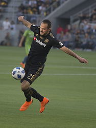 April 29, 2018 - Los Angeles, California, U.S - 29 April 2018, Los Angeles, Ca.,The Los Angeles Football Club (LAFC) beat the Seattle Sounders in the inaugural game at the new Banc of California Stadium. Pictured is LAFC's Marco Urena. (Credit Image: © Prensa Internacional via ZUMA Wire)