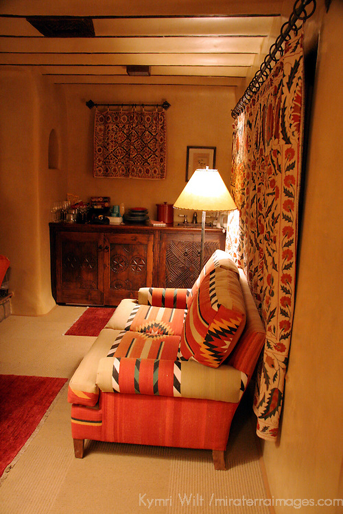 North America, USA, New Mexico, Santa Fe. Sitting Room in Suite at Inn of Five Graces