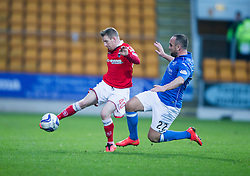 Ross County's Michael Gardyne and St Johnstone&rsquo;s Lee Croft.<br /> half time : St Johnstone 1 v 0 Ross County, Scottish Premiership 22/11/2014 at St Johnstone&rsquo;s home ground, McDiarmid Park.