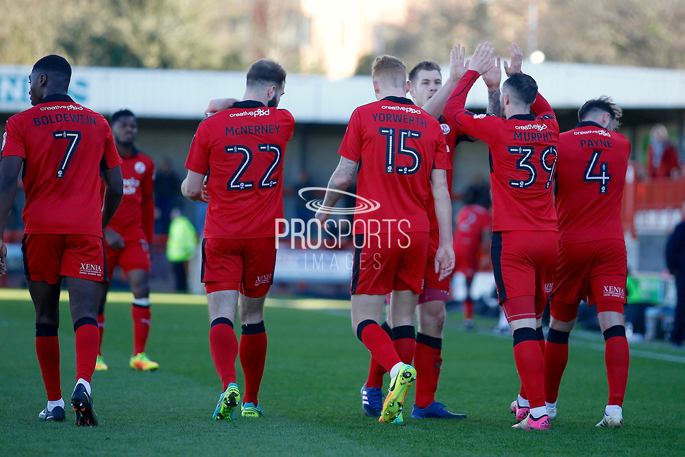 Crawley Town players celebrate a goal from Crawley Town forward James Collins (19) (score 1-0) during the EFL Sky Bet League 2 match between Crawley Town and Leyton Orient at the Checkatrade.com Stadium, Crawley, England on 25 March 2017. Photo by Andy Walter.
