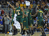ESPN -- The Norfolk State Spartans celebrate after beating the Missouri Tigers in the second round of the 2012 NCAA men's basketball tournament at the Century Link Center.  Norfolk State defeated Missouri 86-84.