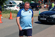 AFC Wimbledon manager Wally Downes arriving during the EFL Sky Bet League 1 match between AFC Wimbledon and Wycombe Wanderers at the Cherry Red Records Stadium, Kingston, England on 31 August 2019.