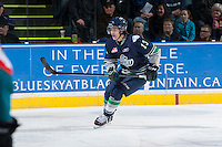 KELOWNA, CANADA - APRIL 3: Mathew Barzal #13 of the Seattle Thunderbirds skates against the Kelowna Rockets on April 3, 2014 during Game 1 of the second round of WHL Playoffs at Prospera Place in Kelowna, British Columbia, Canada.   (Photo by Marissa Baecker/Getty Images)  *** Local Caption *** Mathew Barzal;