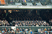 The kings of Spain with various government members attend the final of the cup of Spain at the Santiago Bernabeu in Madrid