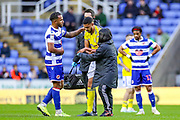 Birmingham City defender Jake Clarke-Salter (14) leaves the pitch with a nasty injury during the EFL Sky Bet Championship match between Reading and Birmingham City at the Madejski Stadium, Reading, England on 7 December 2019.