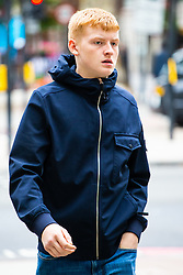 Luke  Lutitt, 18, arrives at Westminster Magistrates Court in London where he faces charges of pushing a passenger onto the tracks of Marylebone Underground station, forcing a tube driver to apply the emergency brakes. London, August 28 2018.