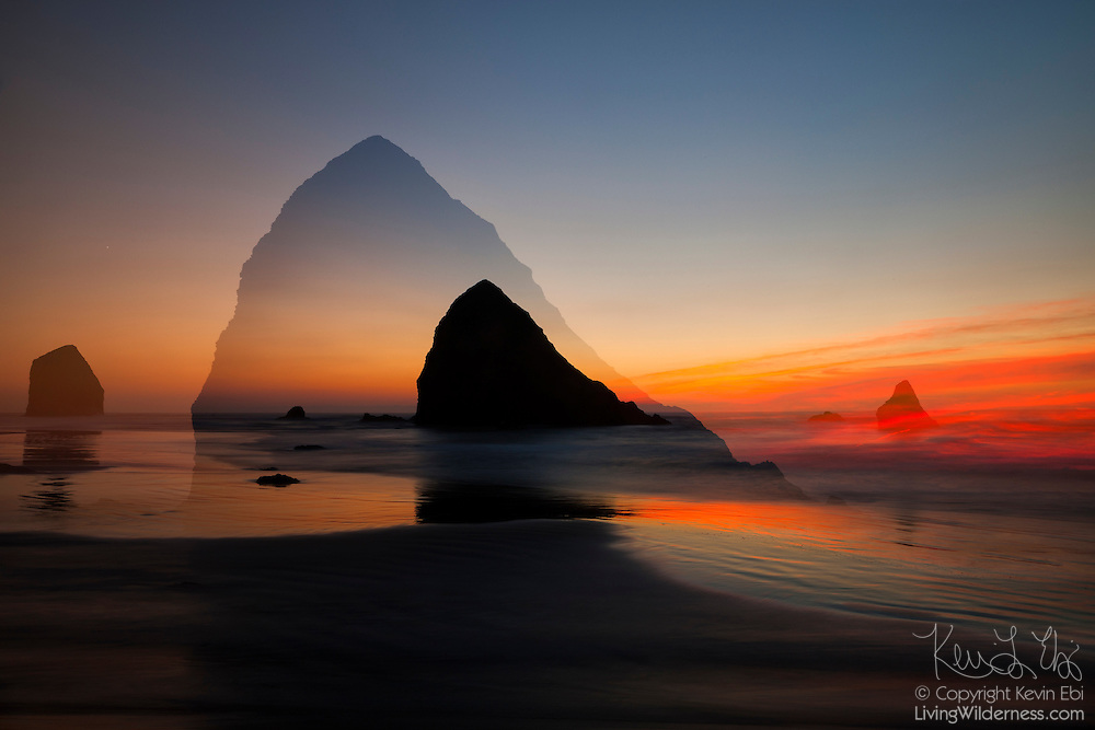 A double exposure helps emphasize the detail of a large sea stack at Silver Point, located on the Oregon coast south of Cannon Beach. A large sea stack known as the Jockey Cap is visible near the left edge of the frame.