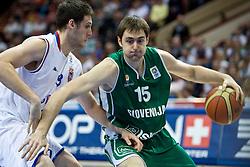 Stefan Markovic of Serbia vs Erazem Lorbek (15) of Slovenia during the EuroBasket 2009 Semi-final match between Slovenia and Serbia, on September 19, 2009, in Arena Spodek, Katowice, Poland.  (Photo by Vid Ponikvar / Sportida)