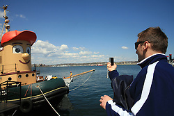 Mitja Robar taking pictures of a funny boat, during IIHF WC 2008 in Halifax,  on May 07, 2008, sea at Halifax, Nova Scotia, Canada. (Photo by Vid Ponikvar / Sportal Images)