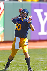 September 17, 2011; San Francisco, CA, USA;  California Golden Bears quarterback Brock Mansion (10) warms up before the game against the Presbyterian Blue Hose at AT&T Park.  California defeated Presbyterian 63-12.
