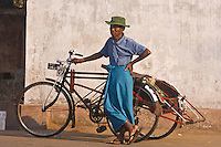 Bicycle rickshaw deriver, Yangon (Rangoon), Myanmar (Burma)