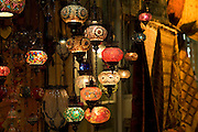 Smoked glass lanterns for sale in the Grand Bazaar.