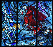 Jacob's dream, showing Jacob's Ladder, stained glass window, 1974, by Marc Chagall, 1887-1985, with the studio of Jacques Simon, in the axial chapel of the apse of the Cathedrale Notre-Dame de Reims or Reims Cathedral, Reims, Champagne-Ardenne, France. The cathedral was built 1211-75 in French Gothic style with work continuing into the 14th century, and was listed as a UNESCO World Heritage Site in 1991. Picture by Manuel Cohen