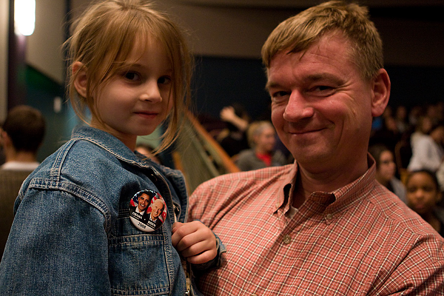 8. Stefan Gleissberg, a professor for plant biology, and his daughter.Olivia,5, attend the UPC Election Results Party in Baker Center on.November 4th, 2008. Gleissberg can not vote since he is from Germany.and not a citizen of the United States, but he and his daughter hope.Obama wins the election.