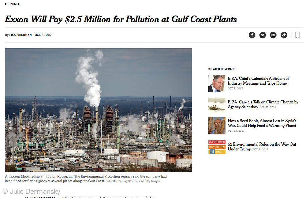 Photo from my collection at Getty Images published by the New York Times- Exxon Will Pay $2.5 Million for Pollution at Gulf Coast Plants https://www.nytimes.com/2017/10/31/climate/exxon-fine.html