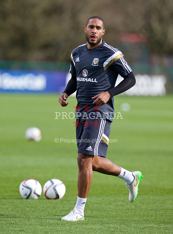 CARDIFF, WALES - Tuesday, March 24, 2015: Wales' captain Ashley Williams during a training session at the Vale of Glamorgan ahead of the UEFA Euro 2016 qualifying Group B match against Israel. (Pic by David Rawcliffe/Propaganda)