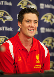 BALTIMORE, MD - Friday, July 27, 2012: Liverpool's Martin Kelly during a press conference ahead of the pre-season friendly match against Tottenham Hotspur at the M&T Bank Stadium. (Pic by David Rawcliffe/Propaganda)