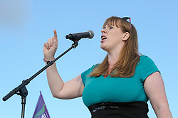 © Licensed to London News Pictures.  31/05/2017; Bristol, UK. General Election 2017; ANGELA RAYNER. A rally in support of the NHS takes place at the Lloyds Amphitheatre in Bristol Docks. Jeremy Corbyn had been due to speak but took part in a TV debate instead, and speakers included shadow secretary of state for health Jonathan Ashworth, and shadow secretary of state for education Angela Rayner. The event was introduced by actor Paul McGann. Picture credit : Simon Chapman/LNP