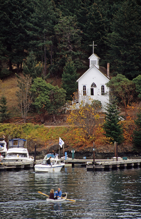 North America, USA, Washington. Our Lady of  Good Voyage church at Roche Harbor on San Juan Island.
