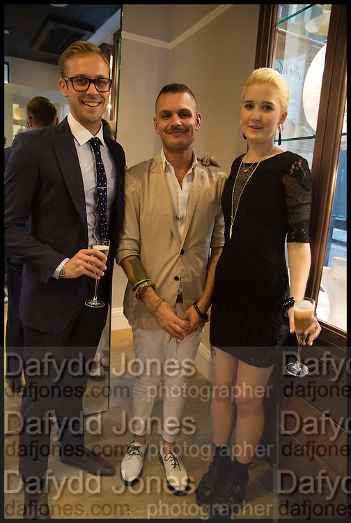 MICHAEL BRUNERO; JOSEPH PORPIGLIA; MILLIE WATSON;  Dinosaur Designs launch of their first European store in London. 35 Gt. Windmill St. 18 September 2014