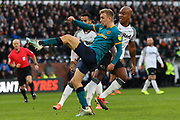 Jarrod Bowen volleys the ball towards goal during the EFL Sky Bet Championship match between Derby County and Hull City at the Pride Park, Derby, England on 18 January 2020.