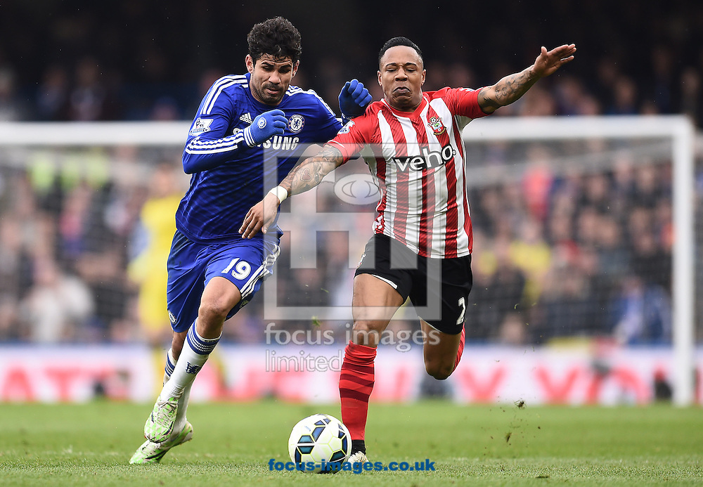 Diego Costa of Chelsea and Nathaniel Clyne of Southampton during the Barclays Premier League match at Stamford Bridge, London<br /> Picture by Andrew Timms/Focus Images Ltd +44 7917 236526<br /> 15/03/2015